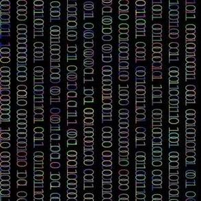 Binary Curtain - Rainbow on Black - Computers Tech Science Code