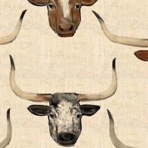 Longhorn Cattle Portraits on Linen look Deep Toned
