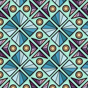 Micro Modern Quilt Vintage Eastern European Geometric Diamonds