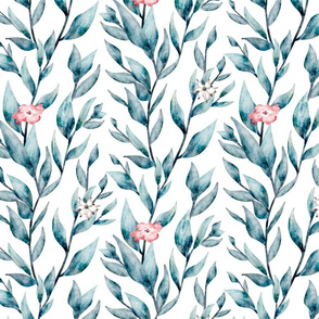 Blossoming  watercolor foliage Large scale