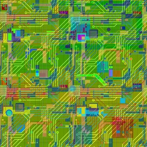 Modern Quilt - Green Ditsy Circuits PCB