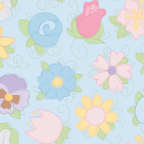 Pastel Flower Sketches on Blue