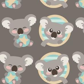 Cute Koalas on Gray