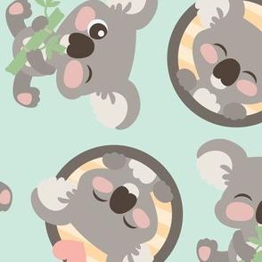 Cute Koalas on Blue