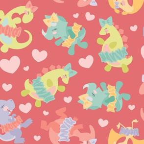 Ballerina Dinosaurs on Pink
