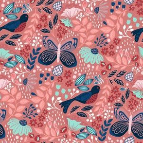 Botanic Garden-Coral Blue