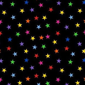 Colorful Scattered Stars on Black Small Scale