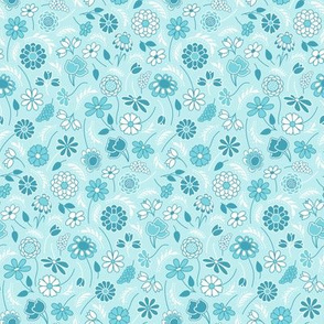 Ditsy Flowers in Turquoise, Aqua , Caribbean Blues - Small Scale