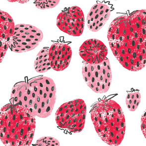 Sweet Juicy Pink and Red Sketchy Strawberry Pattern