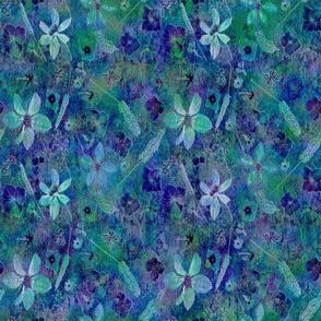 Midnight Teal Garden tiny quilt