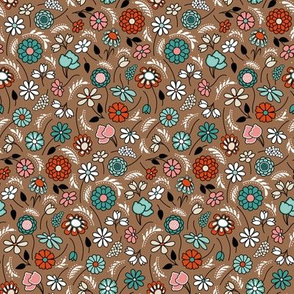 Ditsy Flowers in Chocolate Brown, Coral Pink, Teal, Khaki, Black and White