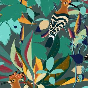 hoopoe forest foliage petrol teal