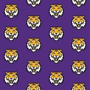 SMALL =- tigers fabric, tiger fabric - louisiana fabric, purple and yellow fabric, purple and gold