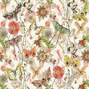 Quilt Squares Moths Wildflowers Ditsy