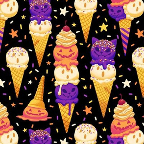Spooky Ice Cream Friends on Black