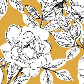Rose Sketch Floral - Mustard - Large Scale