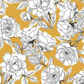 Rose Sketch Floral - Mustard
