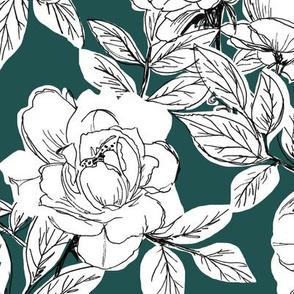 Rose Sketch Floral - Dark Teal - Large Scale