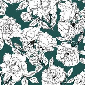 Rose Sketch Floral - Dark Teal