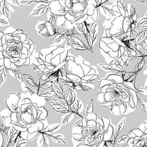 Rose Sketch Floral - Gray