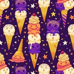 Spooky Ice Cream Friends on Purple