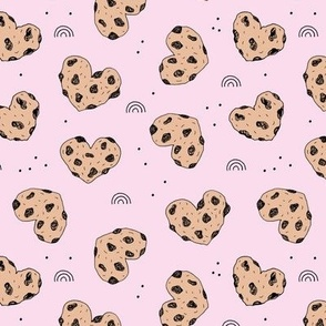 Cookies and rainbows sweet hearts shaped chocolate chip cookie bakery soft baby girls pink brown