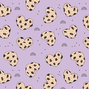 Cookies and rainbows sweet hearts shaped chocolate chip cookie bakery lilac purple brown