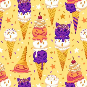 Spooky Ice Cream Friends on Yellow