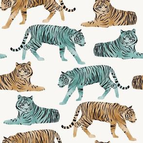 Watercolor Tigers Jungle Cats - Multi - Large Scale
