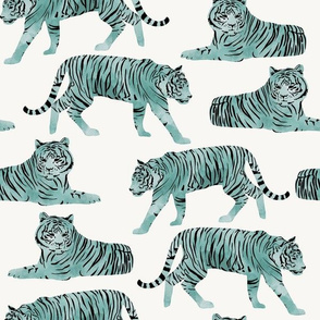 Watercolor Tigers Big Cats - Teal - Large Scale