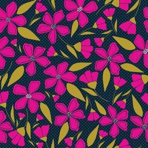 Funky Floral Hot Pink & Black Flowers