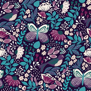 Botanic Garden-Teal Purple V2