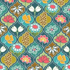 Earthy Kaleidoscope Flower Quatrefoil 2