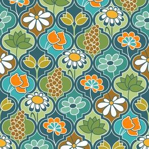 Earthy Kaleidoscope Flower Quatrefoil 3