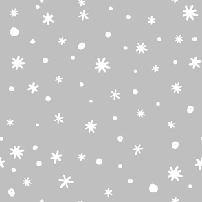 Seamless pattern with doodle hand drawn snowflakes