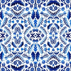 Folk Art Flowers in Blue and White