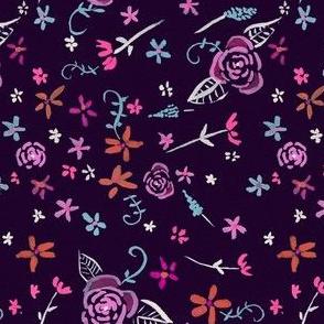 Tiny Fleurs Ditzy Floral // Deep Purple