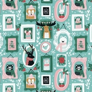 Cute & Cozy Winter Animals in Pink, Teal, and Green - Small