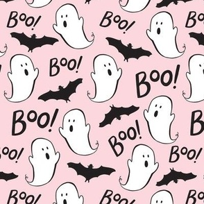 Cute Ghosts and Bats on Pink - Med