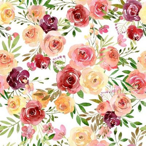 Summer Delight Floral – Burgundy Peach Yellow Gold Flowers, MEDIUM scale