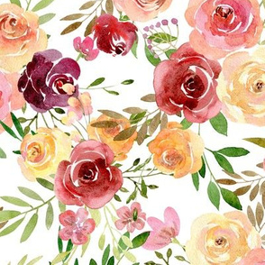 Summer Delight Floral – Burgundy Peach Yellow Gold Flowers, LARGE scale
