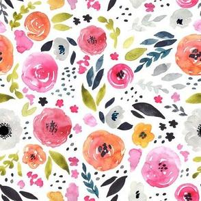 Fun Floral - Bright & Loose Watercolor Flowers - Medium