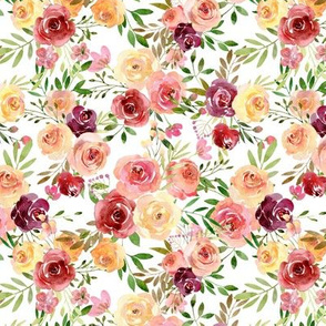 Summer Delight Floral – Burgundy Peach Yellow Gold Flowers, SMALLER scale