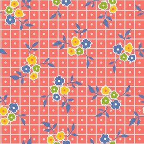 Ditsy Floral Grid with Dots