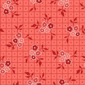 Ditsy Floral Grid Red and Coral