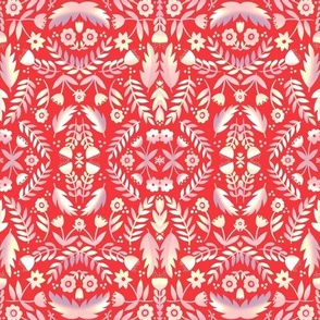 Folk Art Flowers Red and Cream