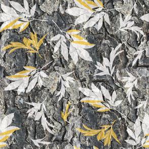 tree bark and yellow foliage