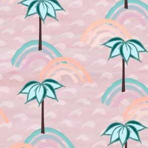 Palms at Dawn with Rainbows on Dusty Peach