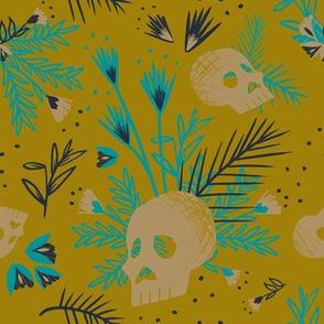Botanical Skulls Mustard