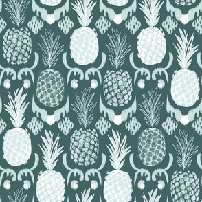 LARGE pineapple ikat_ pine and mint